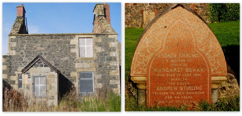 Free Church Schoolhouse and Andrew Stirling's headstone