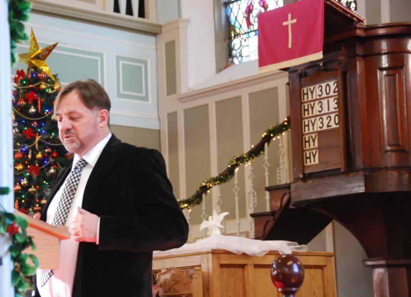 Rab reads Burns 'The Kirk's Alarm' at New Cumnock Parish Church